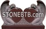 Imperial red granite double angel with heart monument