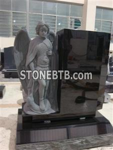 American style black granite full angel carving monument