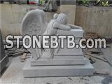 Grey granite weeping angel statue tombstone and monument
