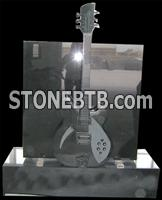 Grey granite hand carved guitar design tombstone