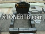 Black granite rose sandblast gravestone with border