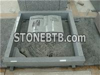 G633 grey granite book shaped gravestone with border