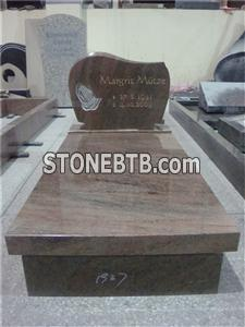German style multicolor red granite tombstones with hands carving
