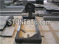 Bahama blue granite tree design tombstones with kerbs