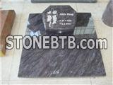 Bahama blue granite cross with roses carving tombstones
