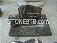 Himalaya blue granite book tombstones with cemetery lamp