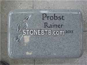 G633 grey granite gravestone with lily carvings