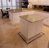 Granite Countertops, Travertine Floor, Kitchen Des
