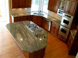 Waterfall Green Granite Countertop, Island