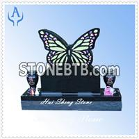 Granite Black Butterfly Monument Headstone