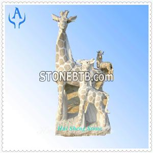 Granite Multicolor Animal Giraffe Sculpture