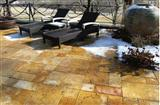 Yellow travertine pavement