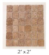 Mexican Noce Travertine Mosaic 2x2
