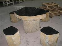 Basalt Table and Chair Natural Stone Sculpture Landscaping