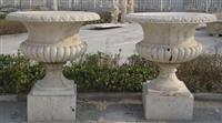 Chinese Beige Travertine Garden Pot Flower vase