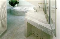 Bathroom with pink-gray marble