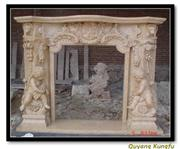 Beige Marble Fireplace Mental