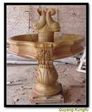 Yellow marble garden stone fountain
