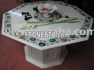 White marble Inlay Table top