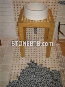 Marble Washbasin, Travertine Mosaic