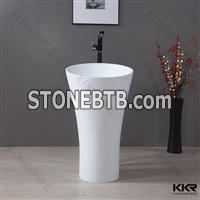 Easy maintain solid surface free standing basin