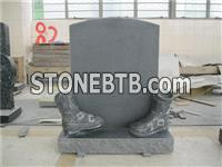 European style granite boot carving headstone