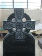 European style granite celtic cross tombstone with rope