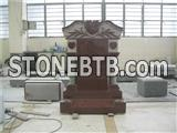 European style granite temple headstone with carving