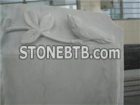 European style marble book shaped headstone with rose