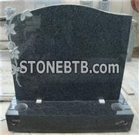 European style granite ogee headstone with carved rose