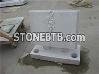 European granite book headstone with carved rose