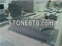 European style granite gravestone with kerbs and cover slab