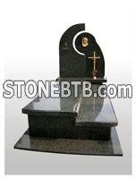 Unique poland granite tombstone with borders and brass