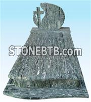 High quality green granite monument headstone with cross