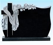 High quality black granite headstone with carving