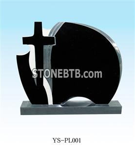 Shanxi black granite headstone with cross carving