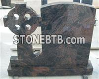colorful red granite tombstone
