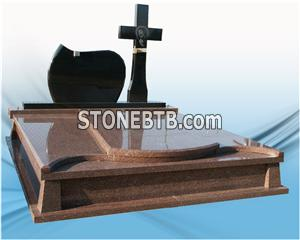 Popular Granite Headstone Design,cross Shaped Tombstone