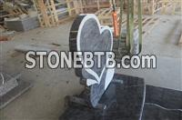 European new style granite tombstone with heart carving