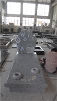 Grey granite monument tombstone with kerbs and cover slab
