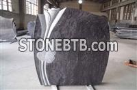 Italian style granite monument with flower carved