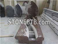 Italian style granite gravestone with kerbs and cover slab