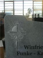 European style tombstone with cross & rose
