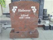 European style granite headstone with rose