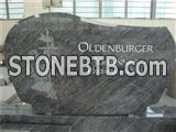 European granite tombstone with rose sandblast
