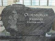 European style granite tombstone with carved cross