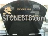 European style granite tombstone with sandblasted rose