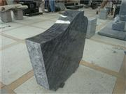 European style carved rose granite tombstone