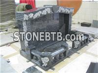 blue pearl granite tombstone with rose