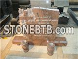 Granite Tombstone Cheap Monument with flower carving